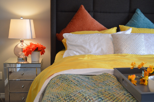 yellow decor bedclothes
