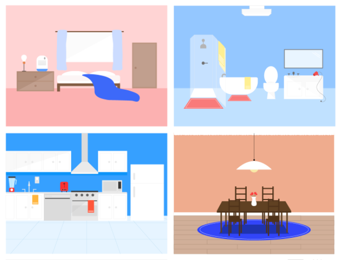 Graphic with bedroom, bathroom, kitchen, and dining room